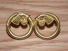 Unbranded Gold Tone Rounded Circular Golf Club & Golf Ball Stud Back Earrings