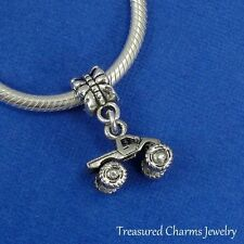 Silver MONSTER TRUCK Dangle Bead CHARM fits EUROPEAN Bracelet