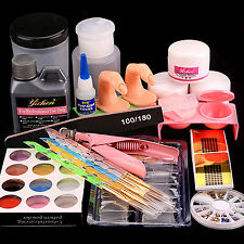 Acrylic Liquid Powder Nail Art Tips Pump Files Pen Clipper Tools Kit USPS Ship