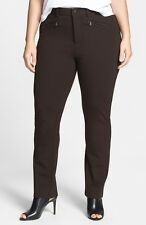 NYDJ 'Ski' Zip Pocket Ponte Knit Pants Ganache Brown WS114F0513 Size 24W