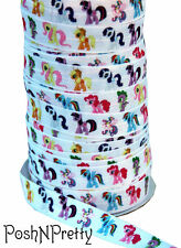 Designer 3 Yards 5/8 Print Fold Over Elastic Stretch FOE - Little Pony