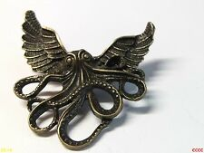 Steampunk brooch badge cog owl wings bronze kraken octopus pirate Harry Potter