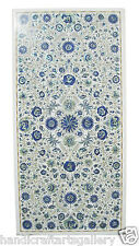 "49""x 24"" White Marble Dining Table Top Lapis Lazuli Pietradure Inlay Decor H1891"