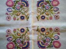 Stylised JACOBEAN Flower Squares ~ Vintage Heavily Hand Embroidered Tablecloth