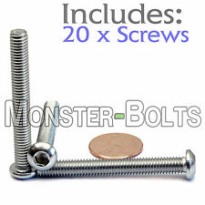 6mm x 1.00 x 50mm - Qty 20 - A2 Stainless Steel BUTTON HEAD Screws M6-1.0 x 50mm