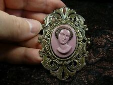 (CA1-20) RARE African American LADY Purple pine resin CAMEO Pin Pendant JEWELRY