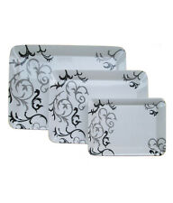 Czar Dine Smart Black Design Set Of 3 pcs Heavy Nice Serving Melamine Trays