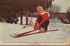 Postcard Skiing Colonial Airlines Skycruisers Link Canada