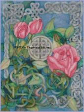 "Floral Pink Roses in ""Celtic Cross Roses"" Cross Stitch Pattern CD"