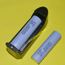 2PC Samsung ICR 18650 22P 2200mAh 3.6V 10A discharge Li-ion battery +1X charger