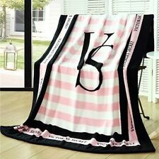 Victorias Secret Beach Blanket Throw Pink White Black NEW Stripes VS
