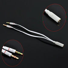 3.5mm Female to 2 Male Y Splitter Auxiliary Audio Cable PC Headphone Mic Jack