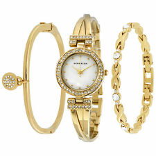 Anne Klein Women's 1868GBST Swarovski Crystal-Accented Bangle Bracelet Set Watch