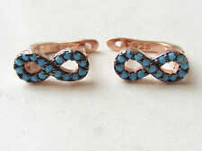 NEW ROSE GOLD PLATED TURQUOISE 925K STERLING SILVER EARRINGS INFINITY