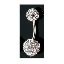 """1 Pc Sparkling Multi Clear Crystal Ball Ferido Belly Navel Rings 14g 3/8"""""""
