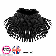 NEW Black Fringe Tassel Snood Thick Warm Neck Wrap Womens Scarves Winter UK