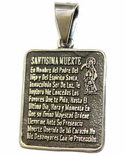 Santa Muerte  Prayer - Holy Death .925 Sterling Silver Pendant Mexico Taxco