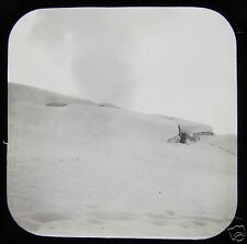 Glass Magic Lantern Slide FOOTPRINTS IN THE SNOW C1890 MONT BLANC ? FRANCE