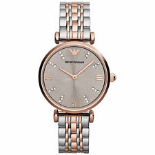 Nuevo EMPORIO ARMANI Dos Tonos de Acero Inoxidable Bar-GIANNI T Ladies Watch AR1840
