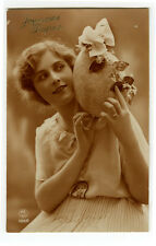 1920s French Deco EASTER EGG BEAUTY  Fashion photo postcard