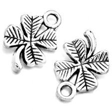 500pcs Wholesale Antique Silver Clover Shape Carved Pendant Charms Findings LC