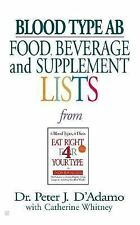 Blood Type AB Food, Beverage and Supplemental Lists, D'Adamo, Dr. Peter J., Good
