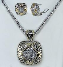Balinese Pave Crystal Enhancer Pendant Necklace Omega Earrings Silver Gold