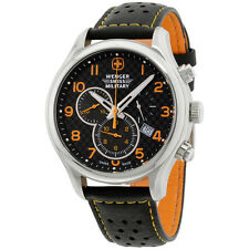 Wenger Swiss Military Black Dial Leather Strap Men's Watch 79304C