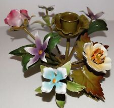 Vtg Toleware Metal Flowers Pink Blue Purple Yellow Candle Holder Made In Italy