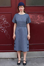 Damen Kleid dress blau blue white Streifen weiß 60er True VINTAGE 60´s women