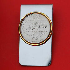 US 2002 Indiana State Quarter BU Uncirculated Coin Two Toned Money Clip New