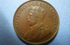 CANADA 1920  Vintage KING GEORGE V ONE CENT LARGE BRONZE COIN, Fine Circulated