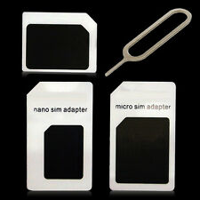 3in1 Nano to Micro Standard SIM Card Adapter for iPhone 4 4S 5 5S Samsung HTC