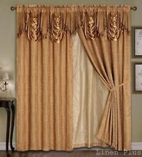 Luxury Gold Panels Valance Liner Curtain Satin Jacquard Set Window Drapes New