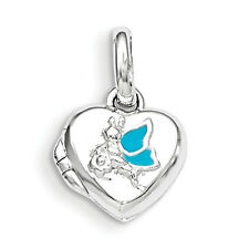 .925 Sterling Silver Polished Blue Enameled Heart Picture Locket Childrens Charm