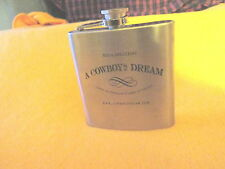 Whiskey Flask 6oz Stainless Steel Bed & Breakfast Cowboy's Dream Great Condition