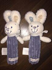 1Stück Nicotoy Simba C&A Greifling Quitsche Baby Hase Bunny Blau Weiß Plüschtier