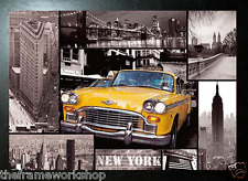 BLACK FRAMED NEW YORK TAXI AND SIGHTS - 3D MOVING PICTURE POSTER 400mm X 300mm