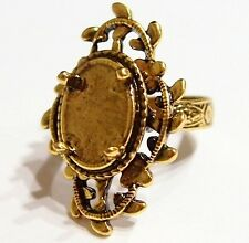 2 of 14x10 mm Antique Gold Vintage Deco Loops & Leaves Victorian Ring Settings