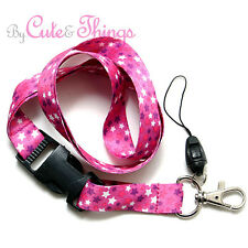 Pink Stars All Over Lanyard Key Chain Phone Strap ID Badge Holder