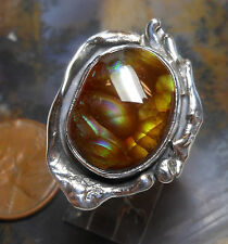 New Sterling Silver and Fire Agate Gem ring size  8 1/2