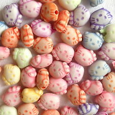 150  HELLO KITTY MIX COLOUR PLASTIC JEWELLERY CHARM BEADS CRAFTS  10mm   AB0121