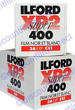 2 x ILFORD XP2 400 35mm 36 exp C.41 PROCESS B&W FILM - by 1st CLASS POST