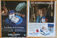 ROYAL CROWN 2x Original ADS 1980s promo advert tabaco tobacco cigarretes