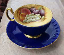 Aynsley Bone China Tea Cup Saucer England Orchard Gold Cobalt Blue Fruits