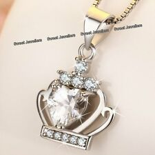BLACK FRIDAY SALE - 925 Silver Crystal Diamond Heart Crown Necklace Xmas Gifts