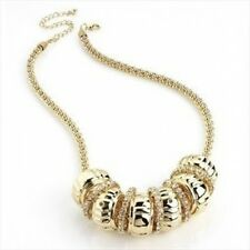 Gold Pltd Popcorn Mesh Net Chain, Barrels & Rings Necklace w/ Swarovski Crystals