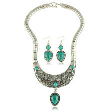 Vintage Turquoise Water Drop Jewellery Set Earrings & Statement Necklace S337