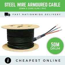 50M DRUM - 25MM 3 CORE ARMOURED CABLE UNDERGROUND 100A MAINS SWA CABLE BASEC