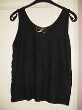 Womens Golddigga Vest Top Black Lace Effect Front Size 12 Great Condition Ladies